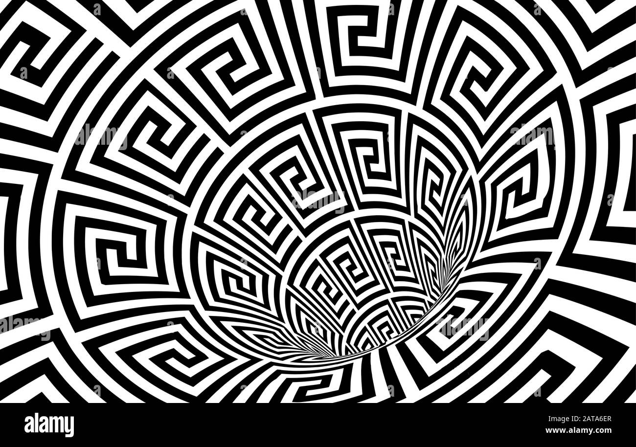 Geometric Black and White Abstract Hypnotic Worm-Hole Tunnel - Optical Illusion - Vector Illusion Meander Patterned Op Art Stock Vector