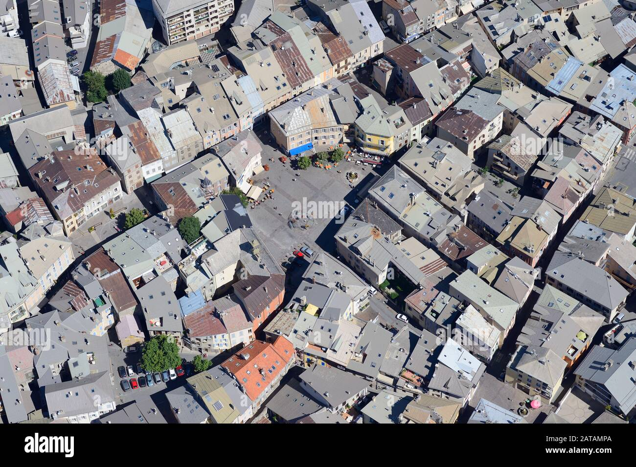 BARTHELON PLAZA IN THE HISTORIC CENTER OF EMBRUN (aerial view). Hautes-Alpes, France. Stock Photo
