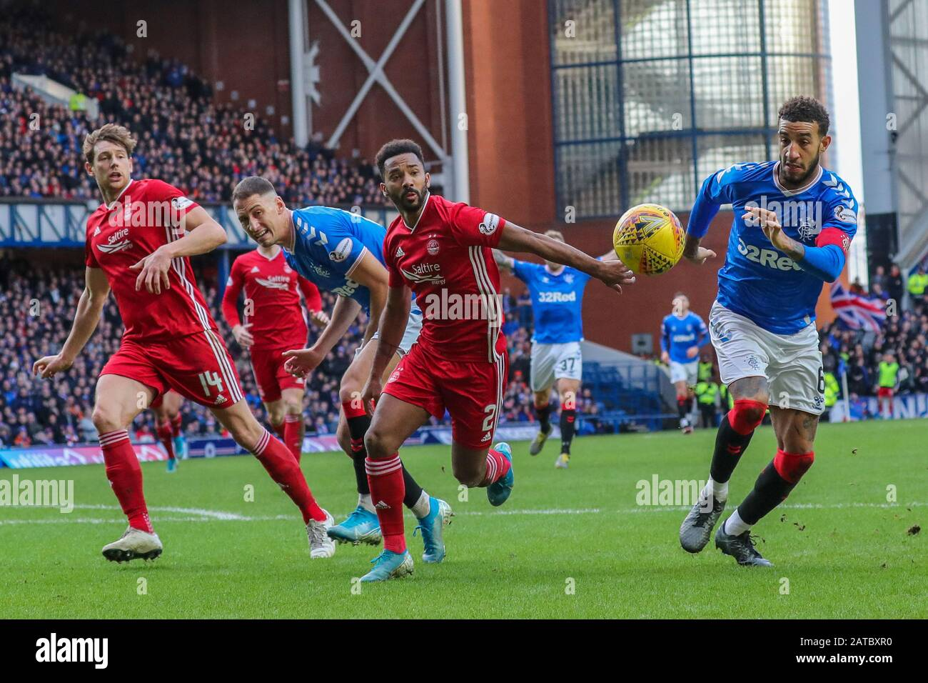 Glasgow, UK. 01st Feb, 2020. Rangers FC played Aberdeen at the Glasgow teams home ground at Ibrox football stadium in a Scottish Premiere League match. The last two games between these teams resulted in a 5 - 0 win for Rangers at Ibrox and a 2 - 2 draw at Pittodrie, Aberdeen's home ground, so in league points this is an important game for both teams. The game finished 0 - 0. Credit: Findlay/Alamy Live News Stock Photo