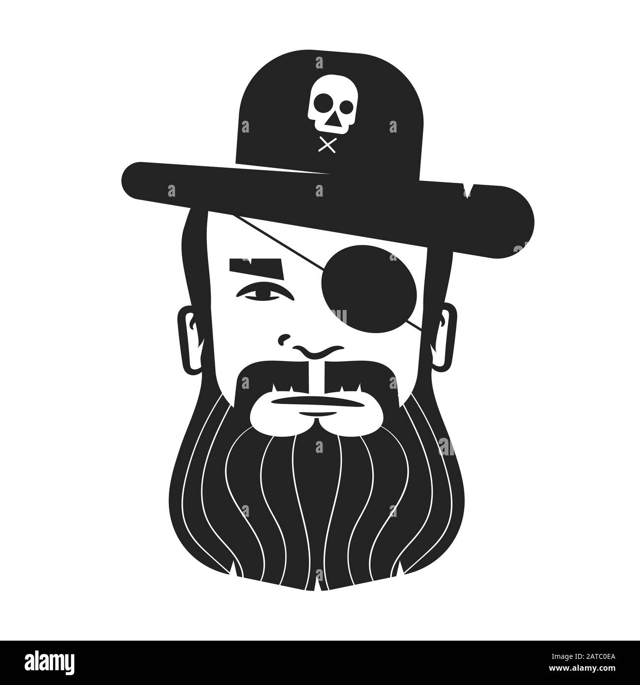 Pirate Head Of A One-eyed Pirate With A Beard And Mustache On A White Background. Logo For Posters, Posters Stock Vector