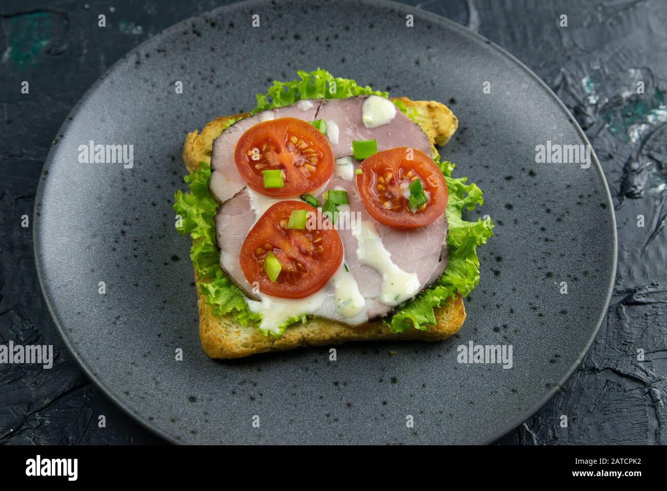 Sandwich with ham and tomatoes on gray plate Stock Photo