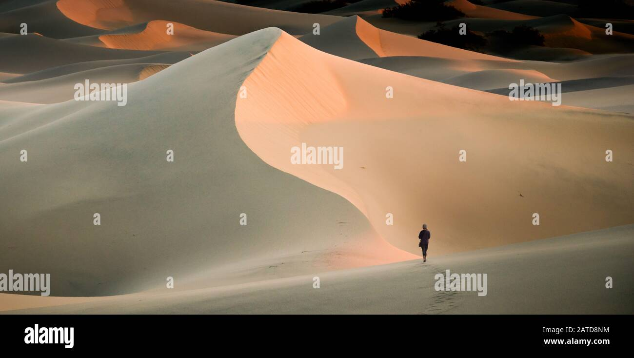 Woman walking in sand dunes, Mesquite Flat Sand Dunes, Death Valley, California, USA Stock Photo