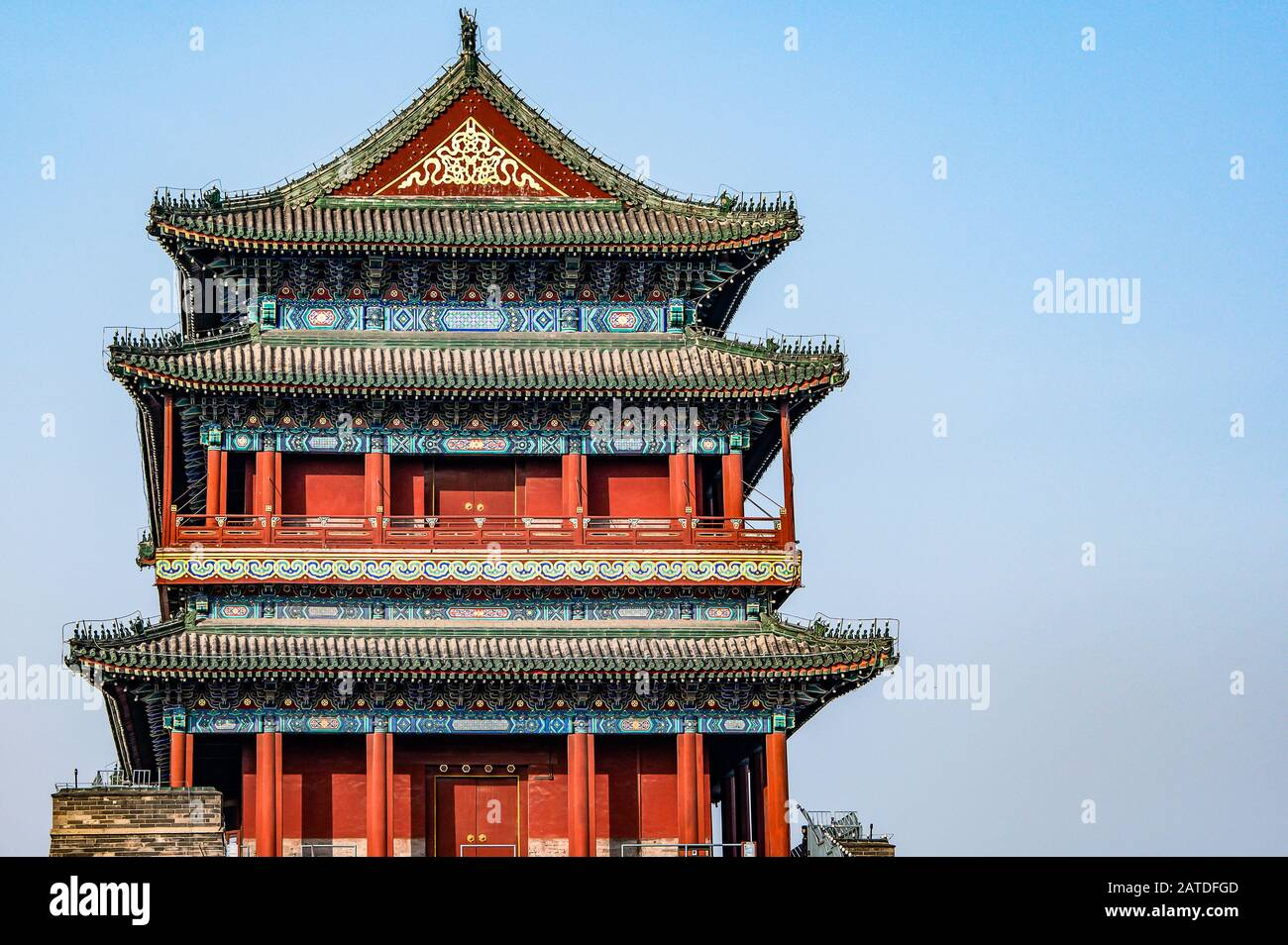 China, Beijing, Forbidden City Different design elements of the colorful buildings rooftops closeup details. Stock Photo