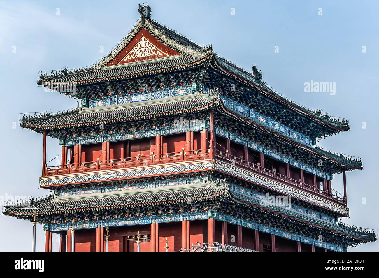 China, Beijing, Forbidden City Different design elements of the colorful buildings of the imperial palace. Stock Photo