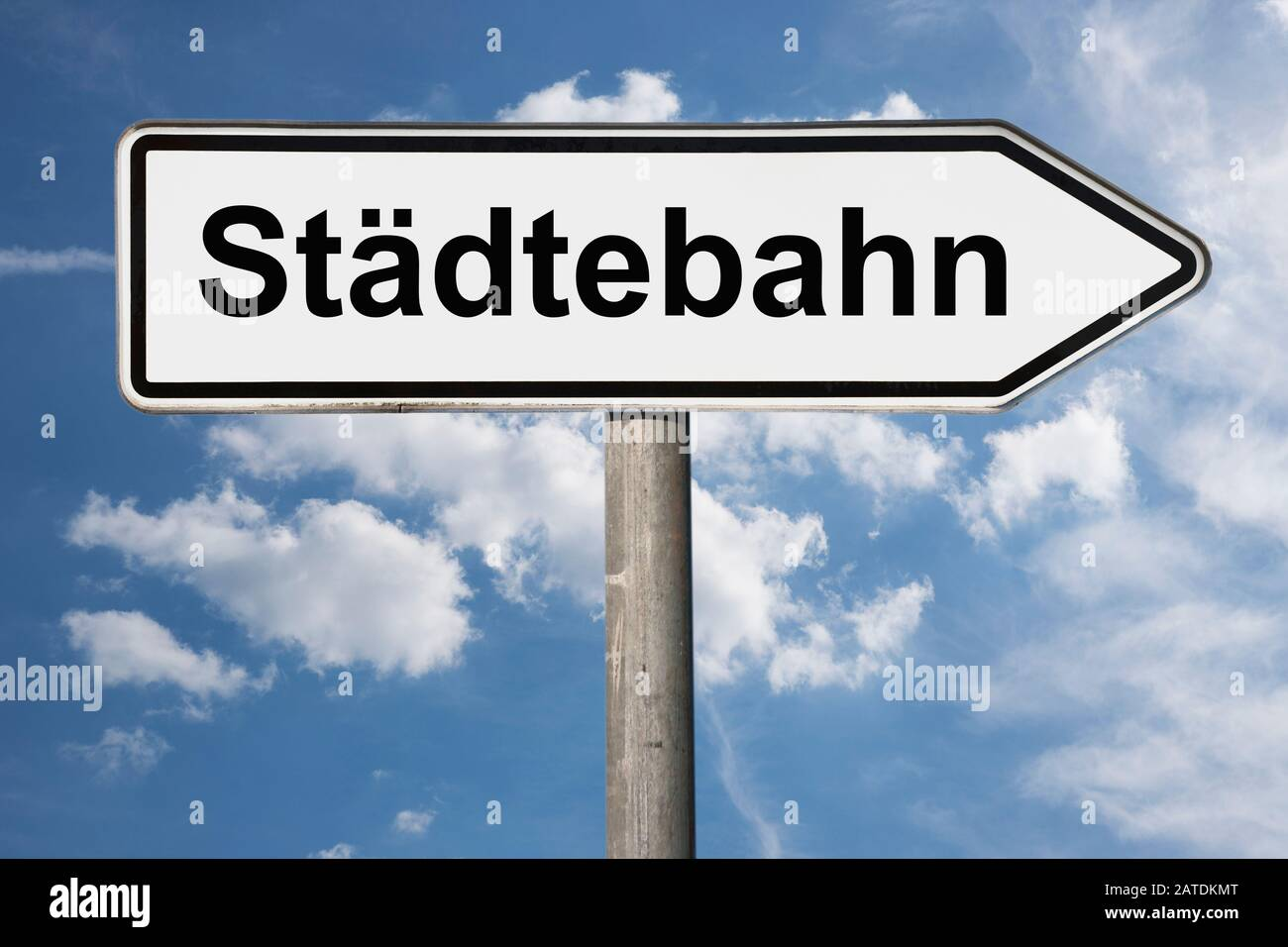 Detail photo of a signpost with the inscription Städtebahn (City railway) Stock Photo