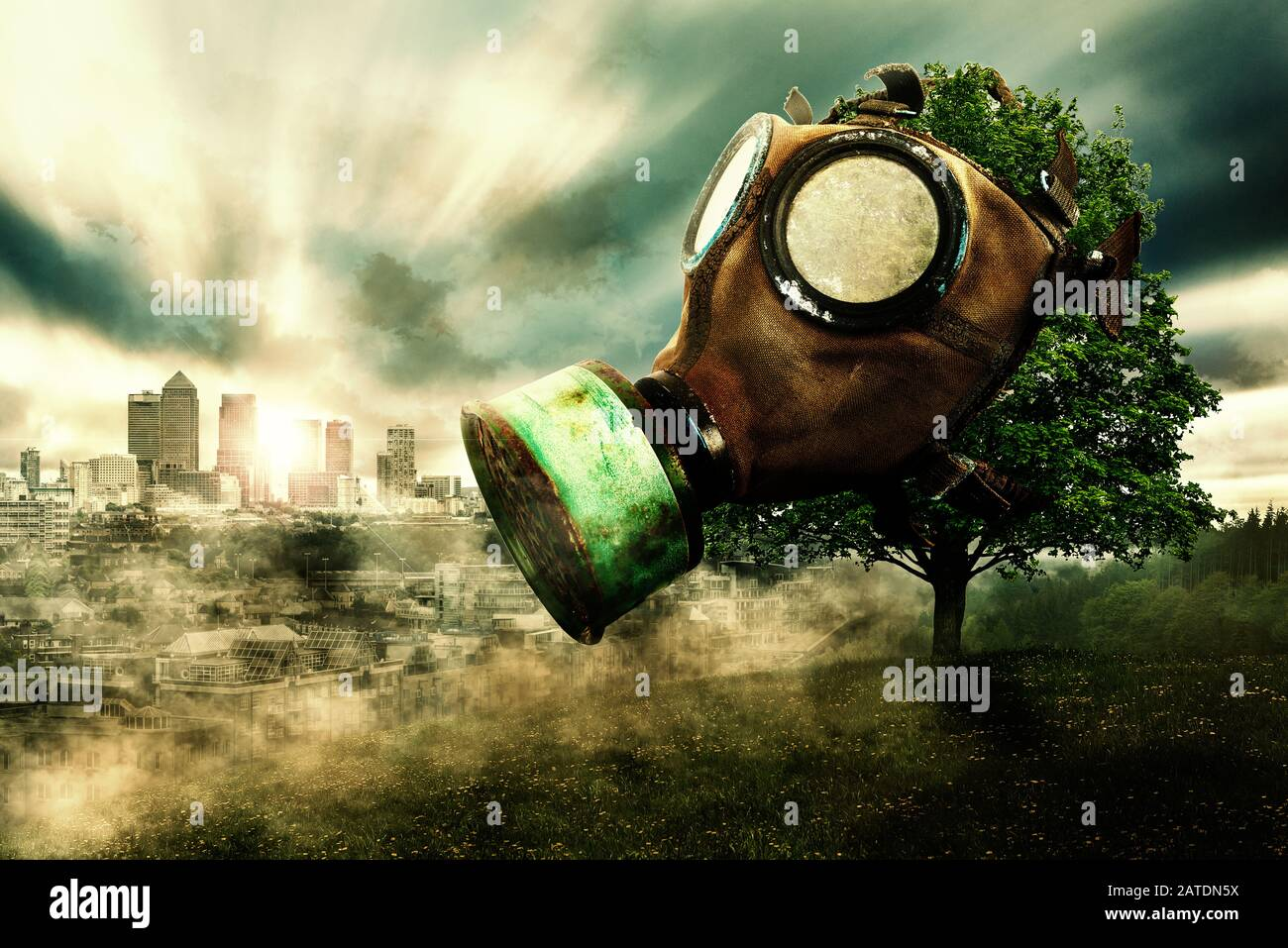 Tree with gas mask, background with city in smog, global warming due to air pollution Stock Photo