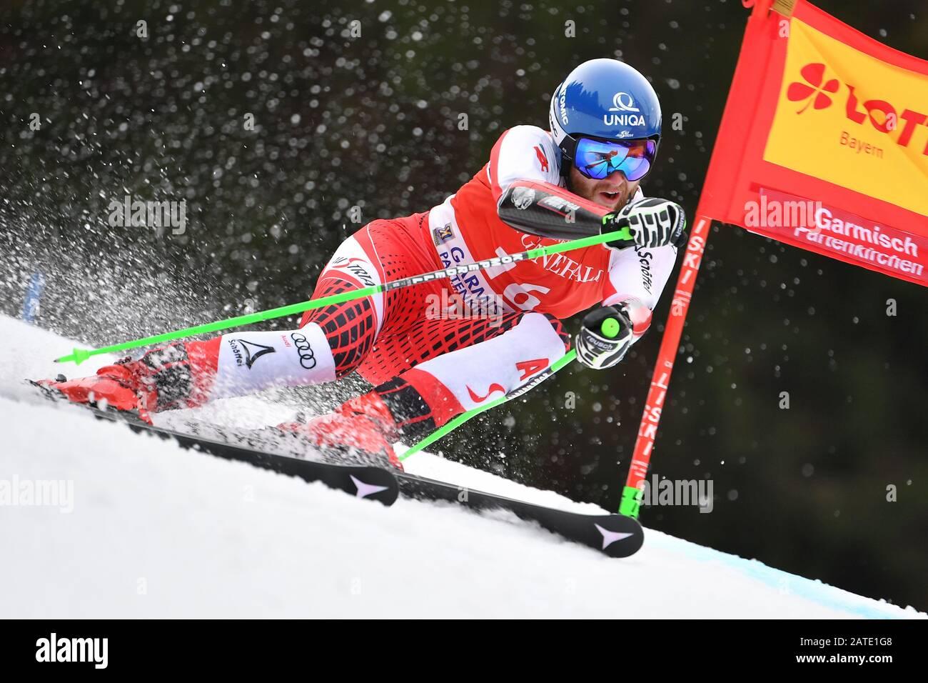 Marco SCHWARZ (AUT), action. Alpine skiing: men's giant slalom/Kandahar race in Garmisch Partenkirchen on 02.02.2019.   usage worldwide Stock Photo