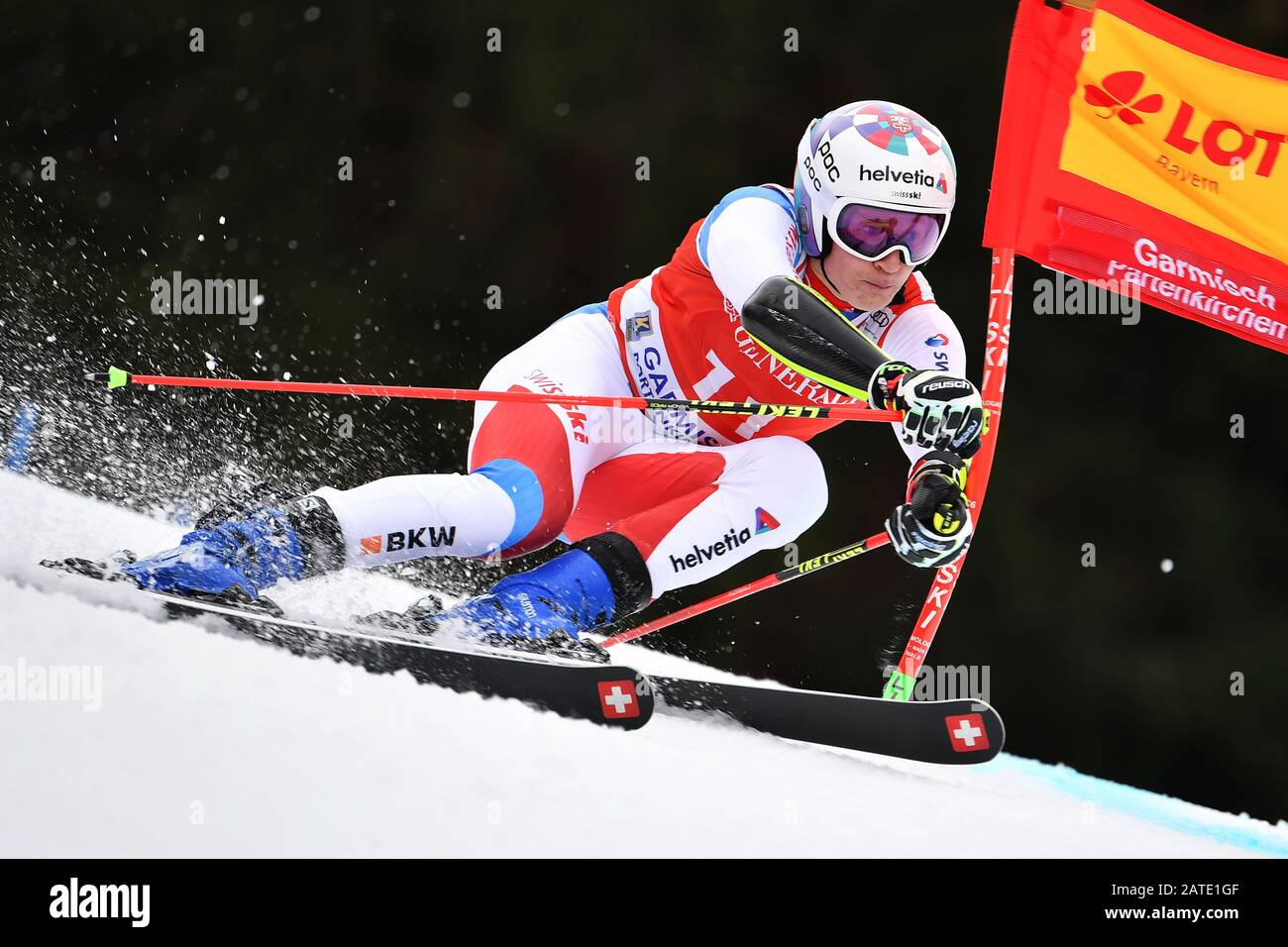 Marco ORMATT (SUI), action. Alpine skiing: men's giant slalom/Kandahar race in Garmisch Partenkirchen on 02.02.2019. | usage worldwide Stock Photo