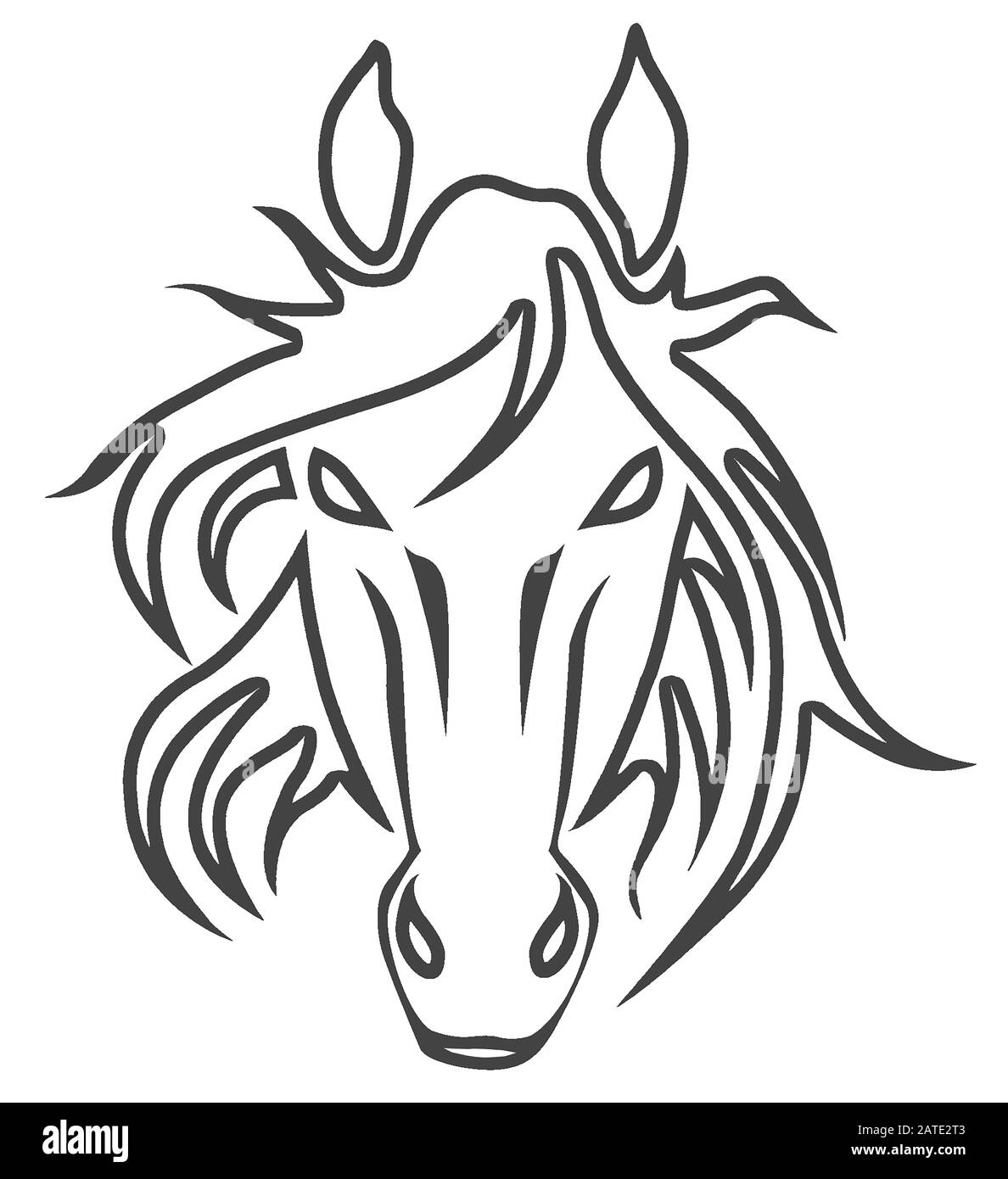 Horse Logo Illustration Realistic Drawing Design Stock Photo Alamy