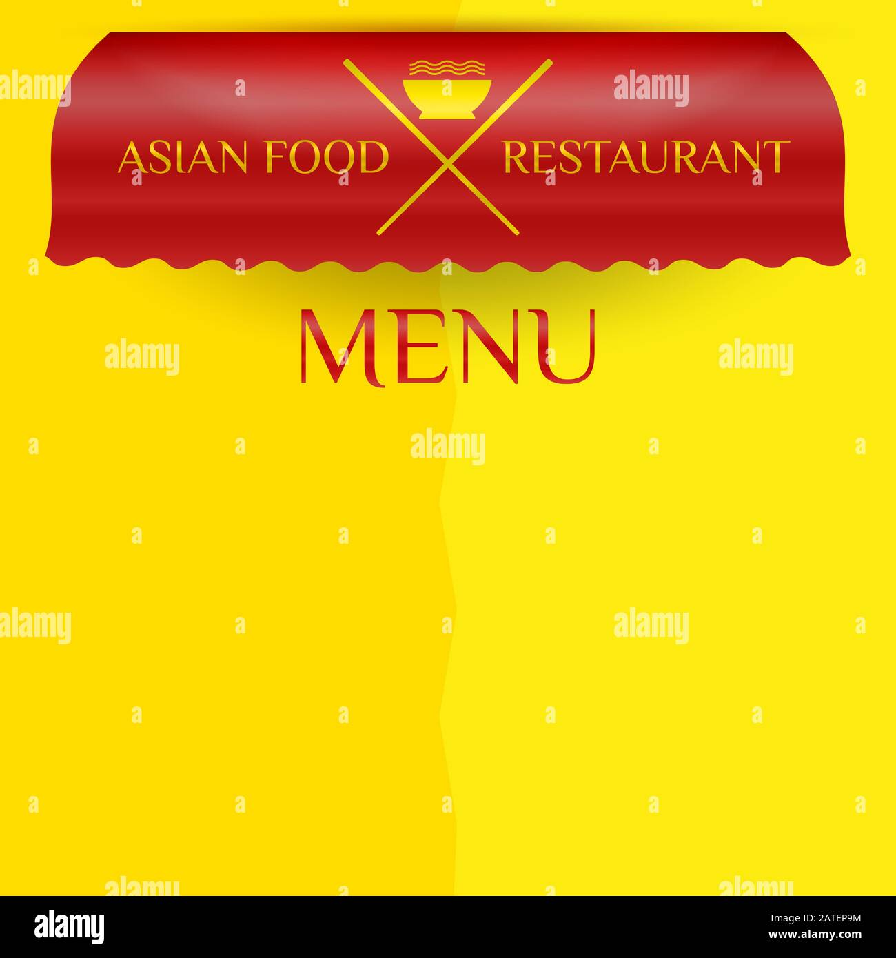 Asian Food Restaurant Commercial Awning Market Cafe Or Restaurant Menu Template Red Awning Isolated On Yellow Background Crossed Chopsticks Icon Stock Photo Alamy