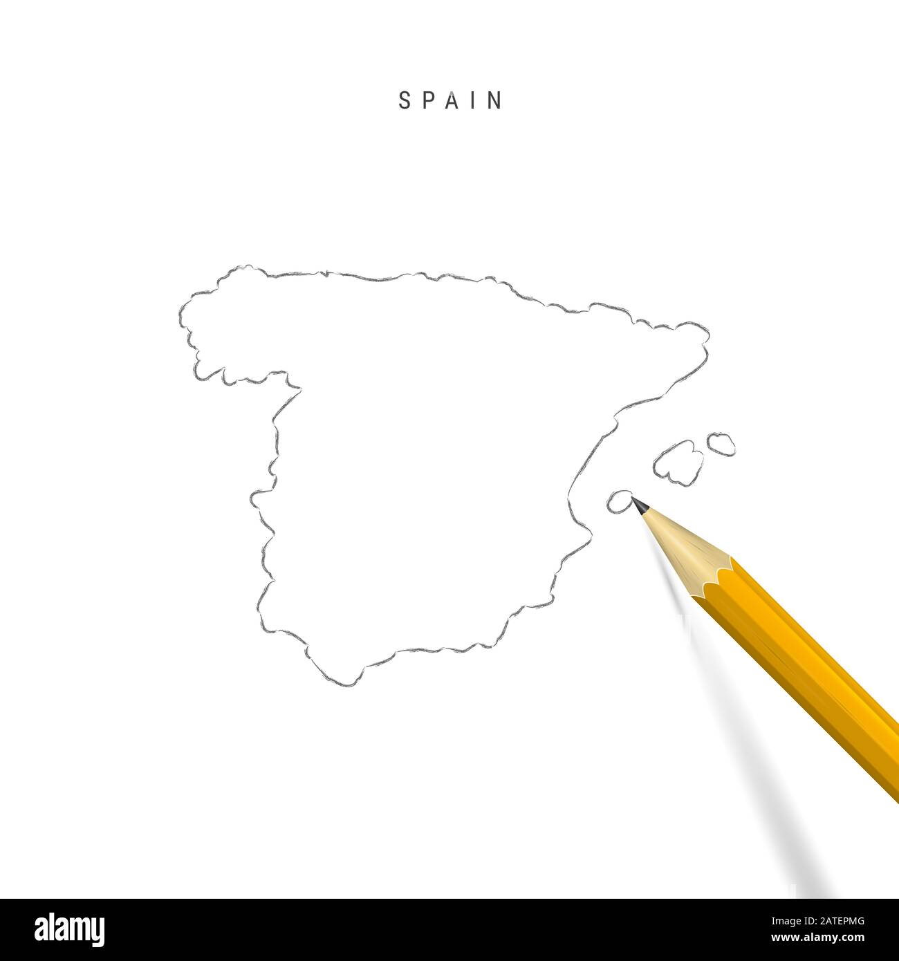 Picture of: Spain Sketch Outline Map Isolated On White Background Empty Hand Drawn Map Of Spain Realistic 3d Pencil With Soft Shadow Stock Photo Alamy