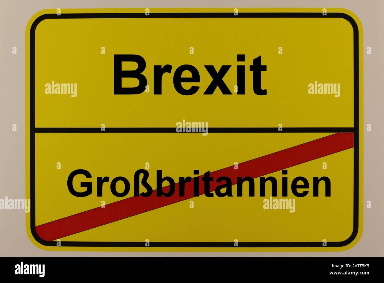 Straßenverkehrszeichen zum Thema EU-Austritt von Großbritannien Stock Photo