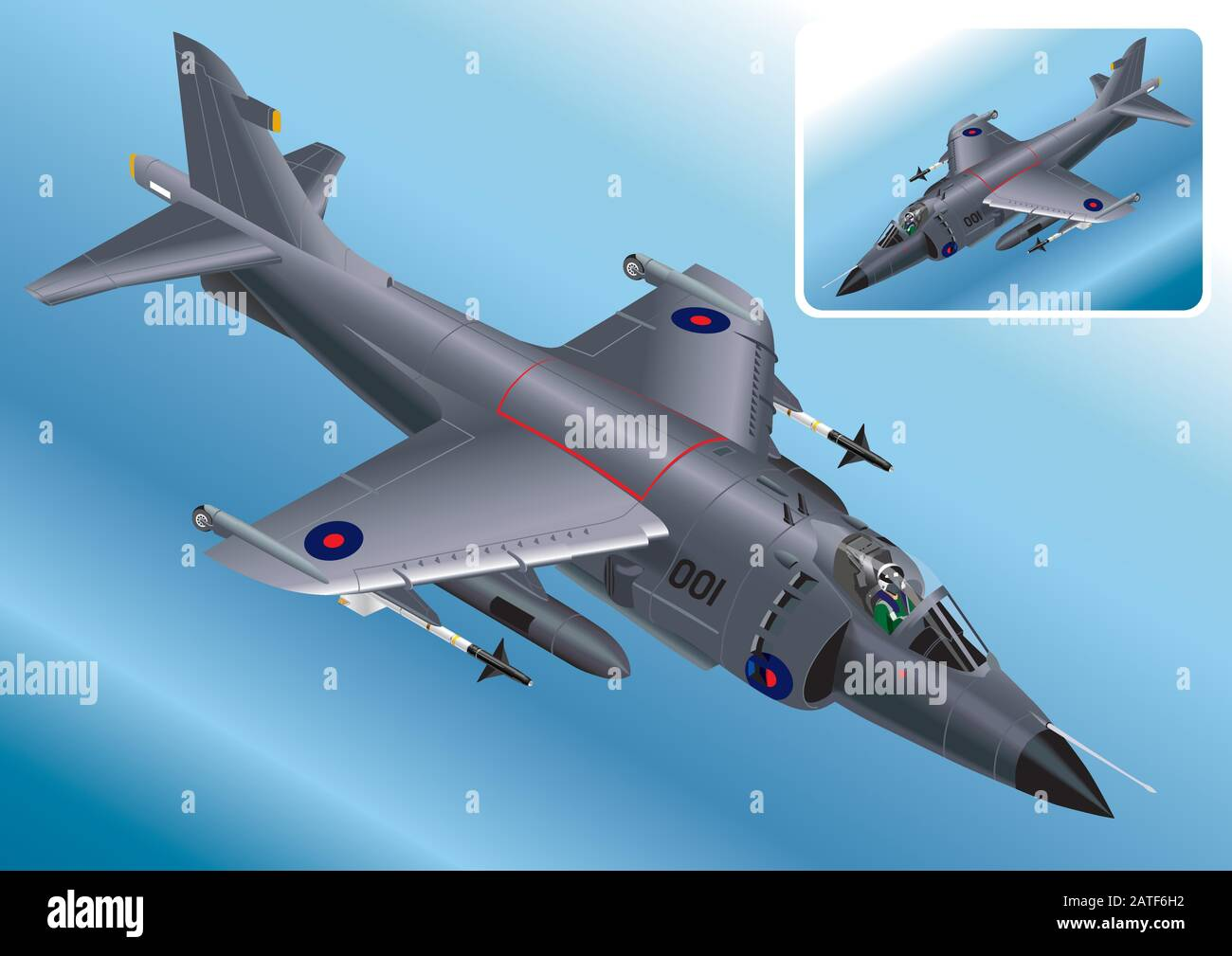 Detailed Isometric Vector Illustration of a Royal Navy Sea Harrier Stock Vector