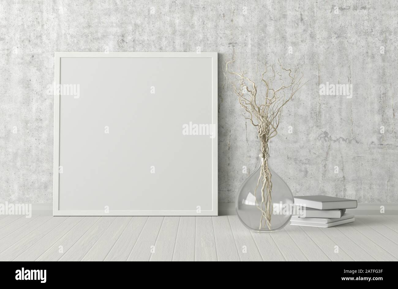 https www alamy com blank square poster frame mock up standing on white floor next to concrete wall with vase and books clipping path around poster 3d illustration image342090659 html