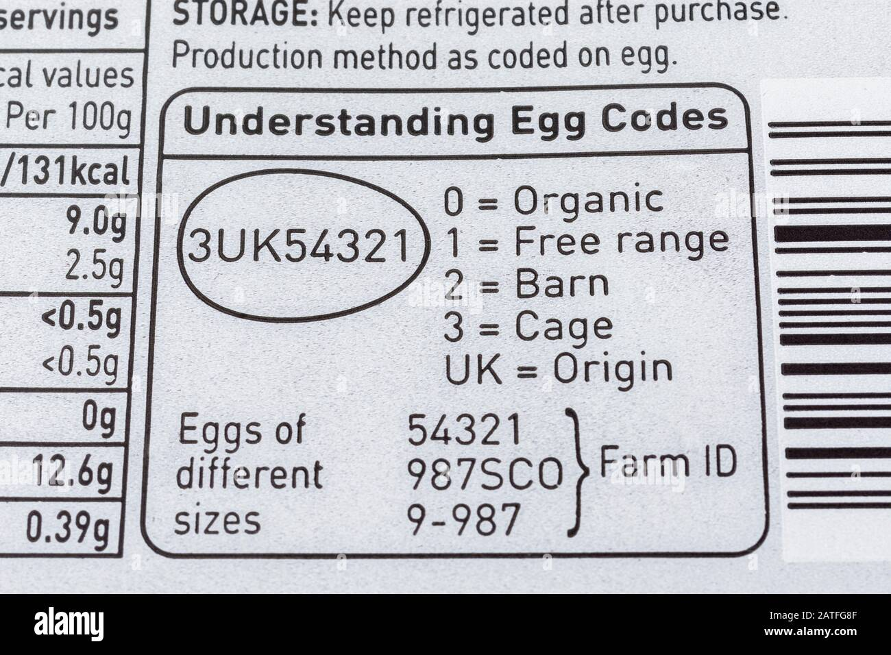 Close up food label on egg box from ASDA explaining UK Egg Codes. Food  packaging, nutrition labels, food labelling, British produce, food Stock  Photo - Alamy