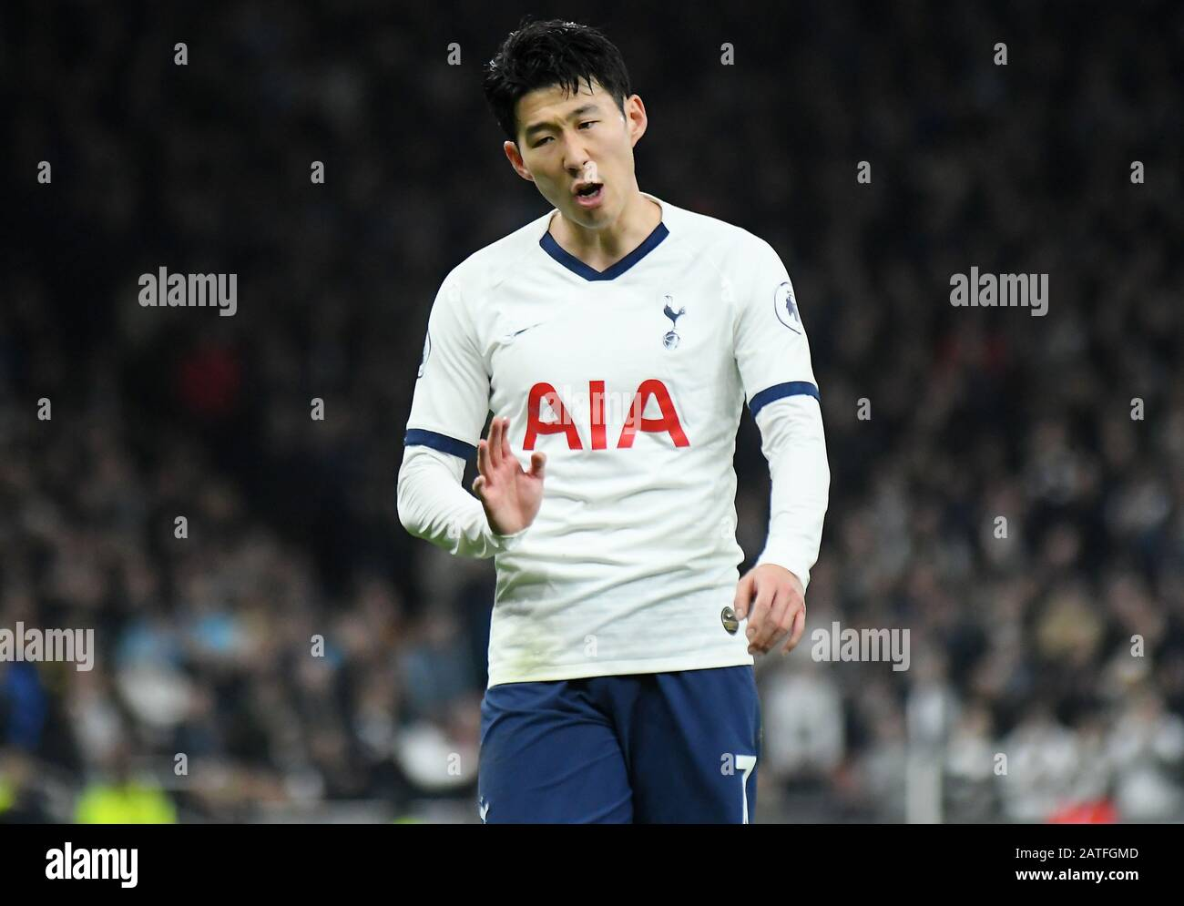 London England February 2 2020 Heung Min Son Of Tottenham Pictured During The 2019 20 Premier League Game Between Tottenham Hotspur Fc And Manchester City Fc At Tottenham Hotspur Stadium Stock Photo Alamy