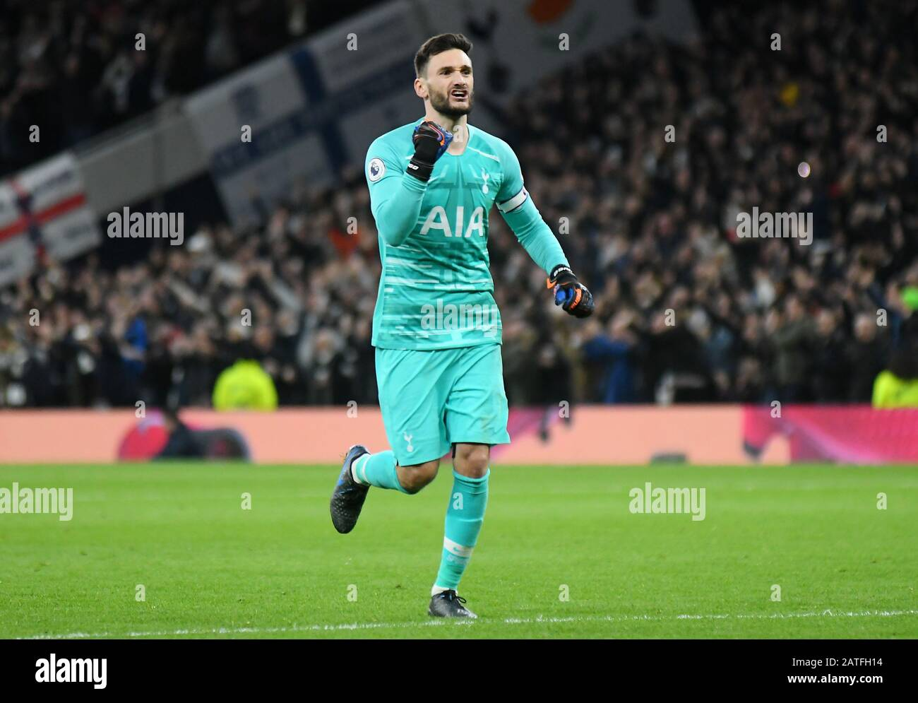 London England February 2 2020 Hugo Lloris Of Tottenham Celebrates After A Goal Scored By His