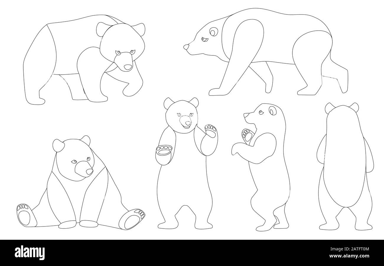Set of Grizzly bears. North America animal, brown bear. Cartoon animal design. Flat vector illustration isolated on white background outline style Stock Vector