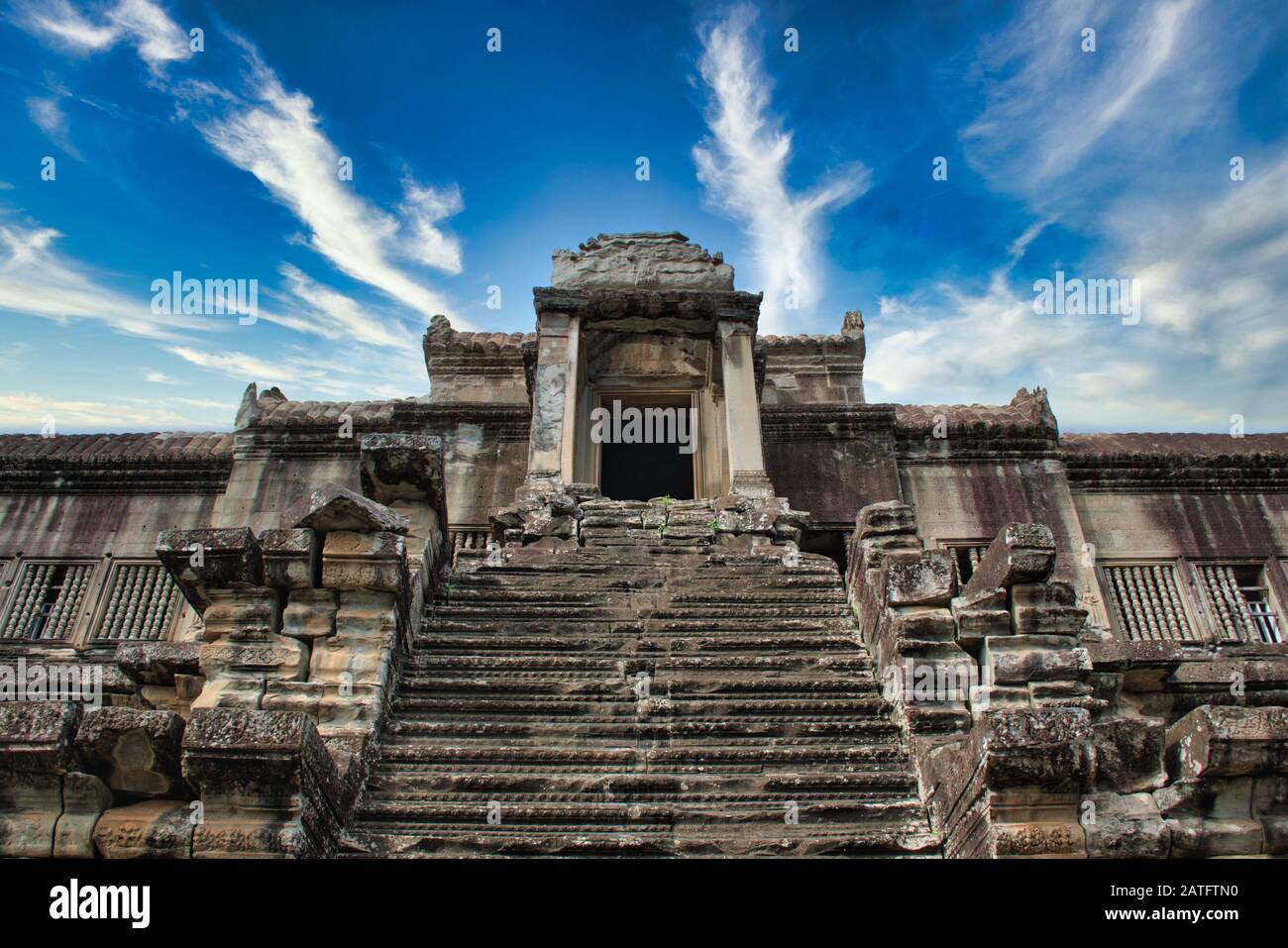Angkor Wat in Siem Reap,Cambodia is the largest religious monument in the world Stock Photo