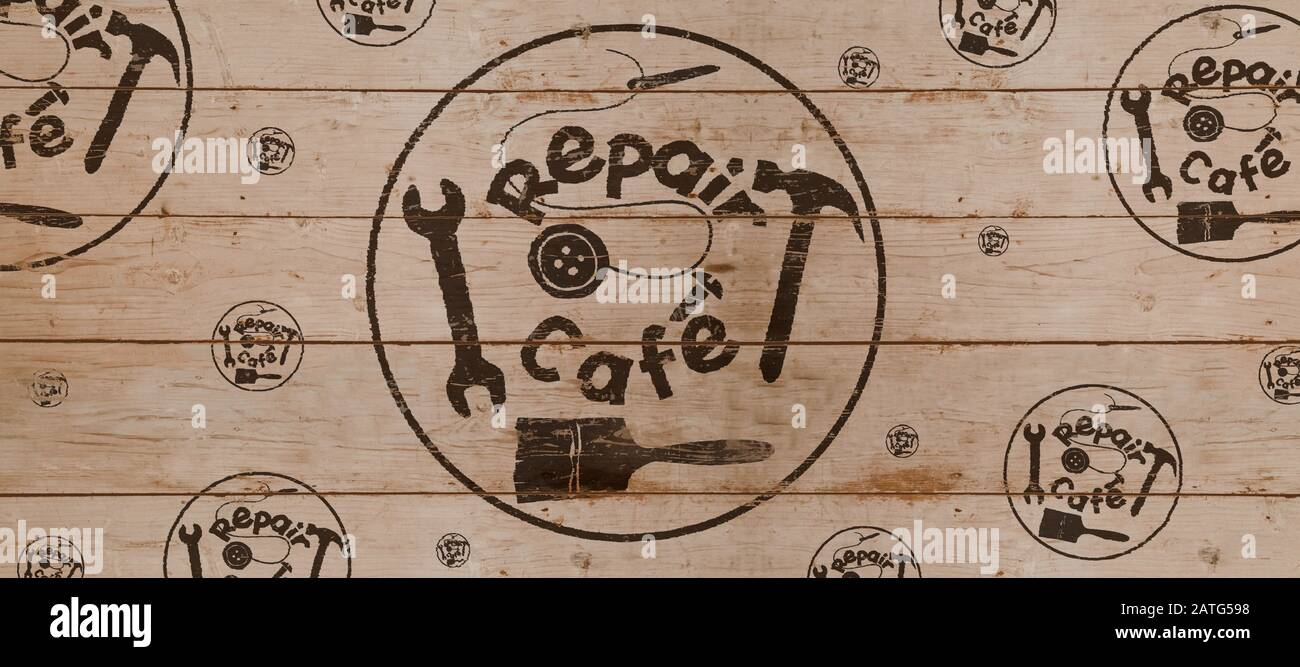 Repair Cafe logo on wooden board,  header or background, consumer movement to repair household items to reduce waste and support a sustainable zero wa Stock Photo