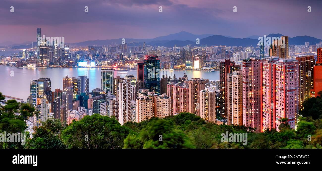 Hong Kong skyline at night, China - Asia Stock Photo