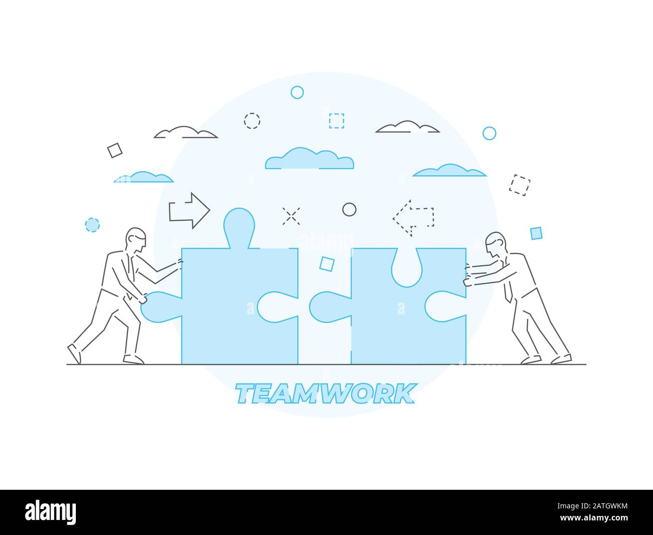 Teamwork Business concept Vector illustration in linear style Stock Vector