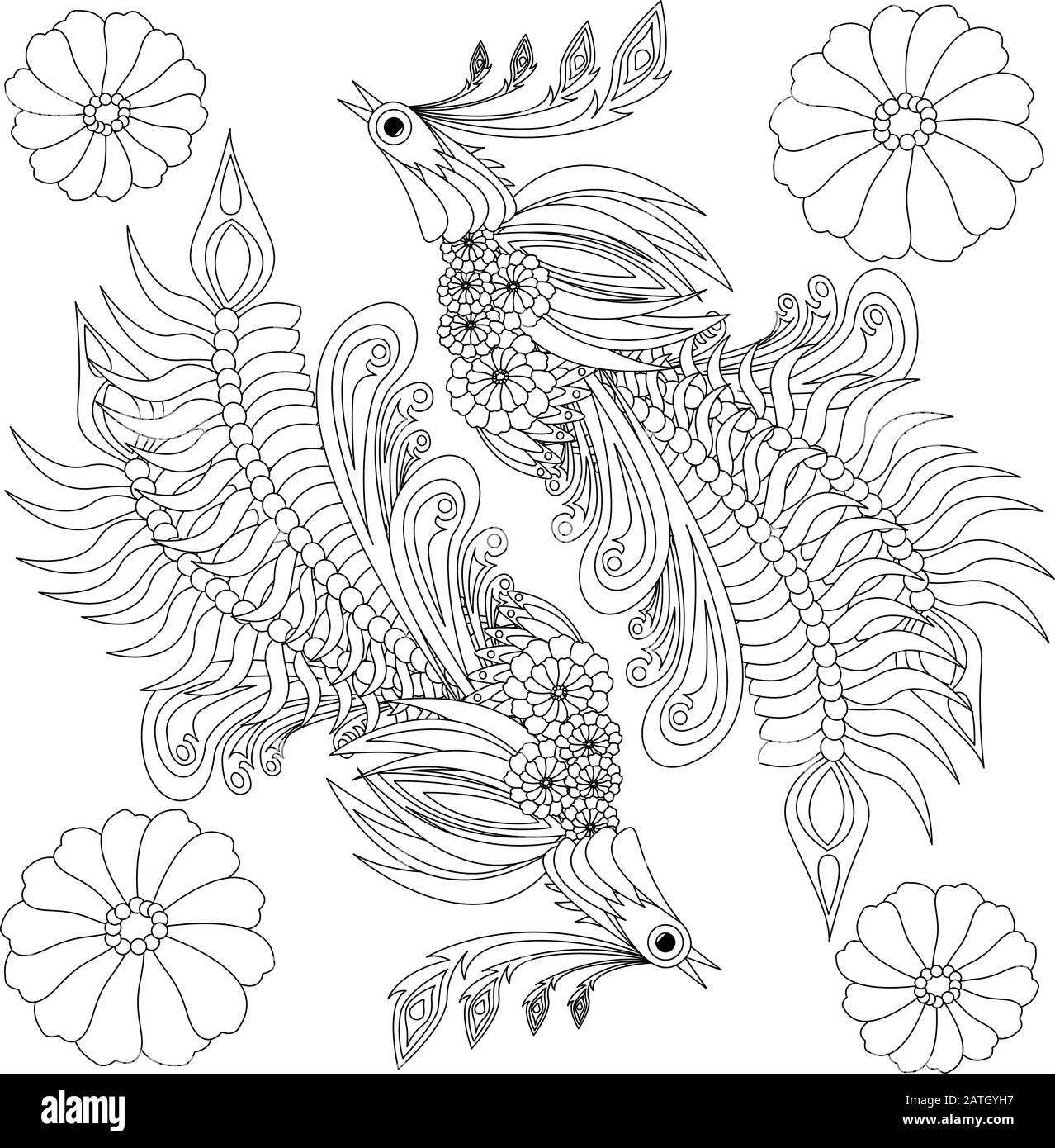Floral Ukrainian Vector Image Flower In The Style Of Petrykivka Painting Isolated Element For Design Coloring Page Stock Vector Image Art Alamy