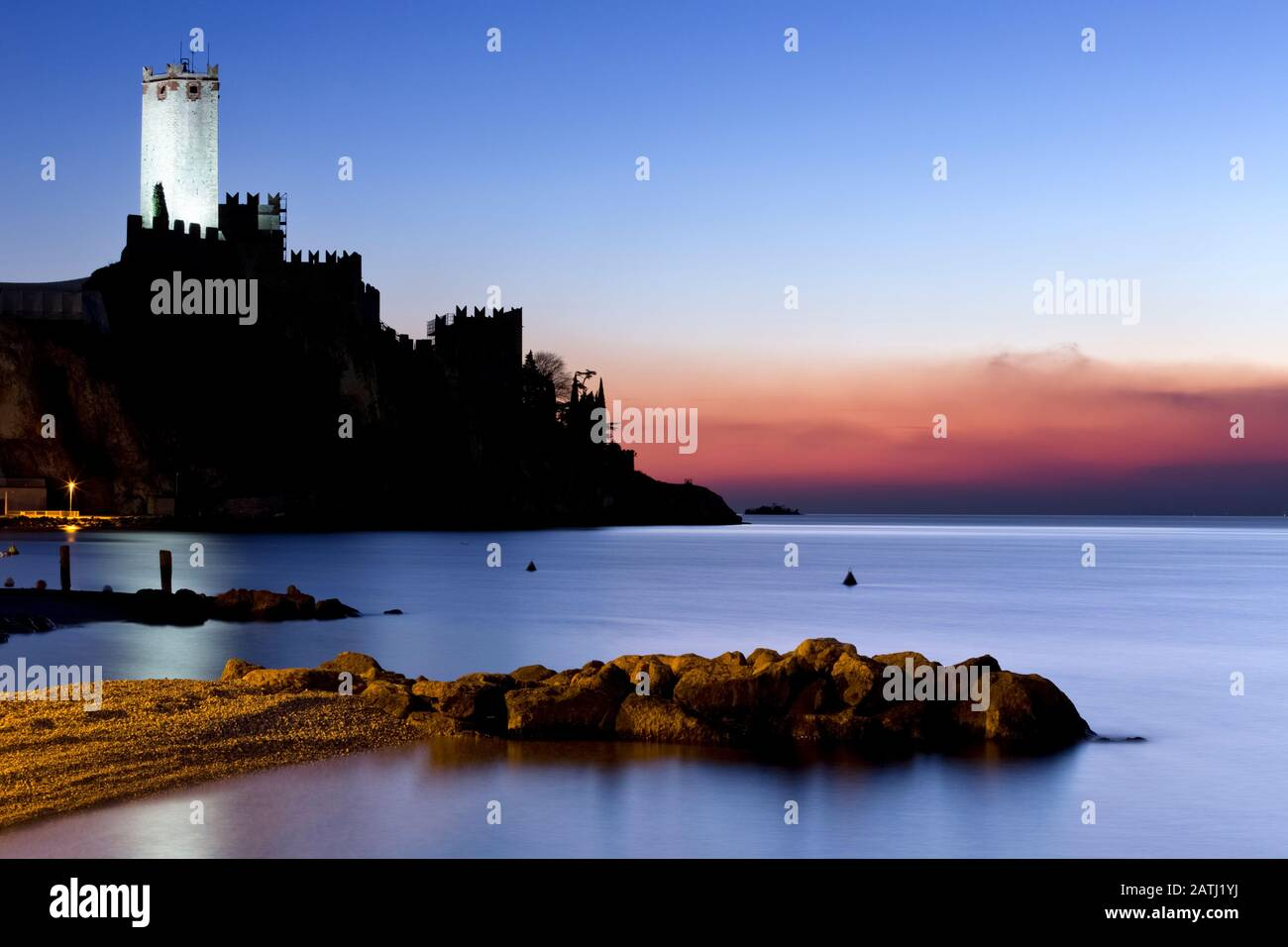 The Scaliger castle of Malcesine was made famous by the drawings and descriptions of the German writer Goethe. Lake Garda, Veneto, Italy. Stock Photo