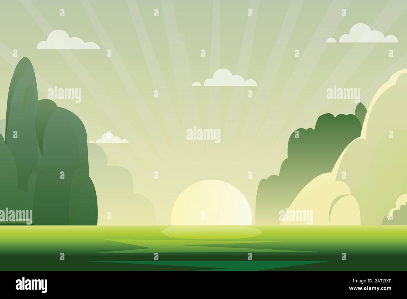 Morning Nature Landscape With Sunrise Vector Illustration Green Nature Scene With Hills And Sky Background Stock Vector Image Art Alamy