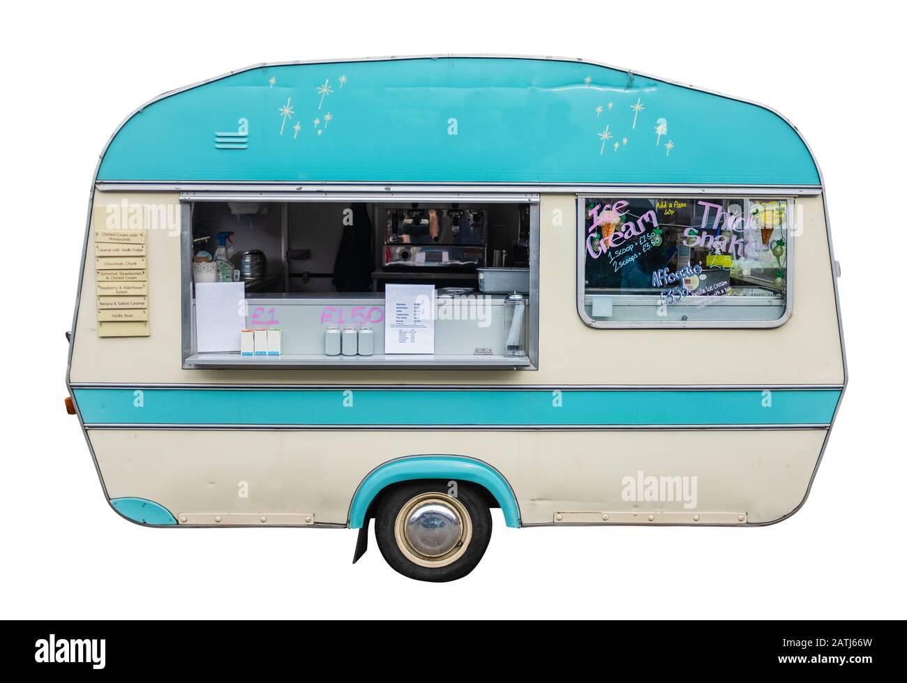 Retro Vintage Food Truck (Caravan) For Coffee Ice Cream And Snacks Stock Photo