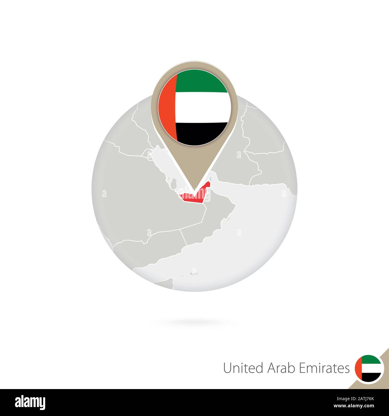 United Arab Emirates map and flag in circle. Map of UAE, UAE flag pin. Map of UAE in the style of the globe. Vector Illustration. Stock Vector