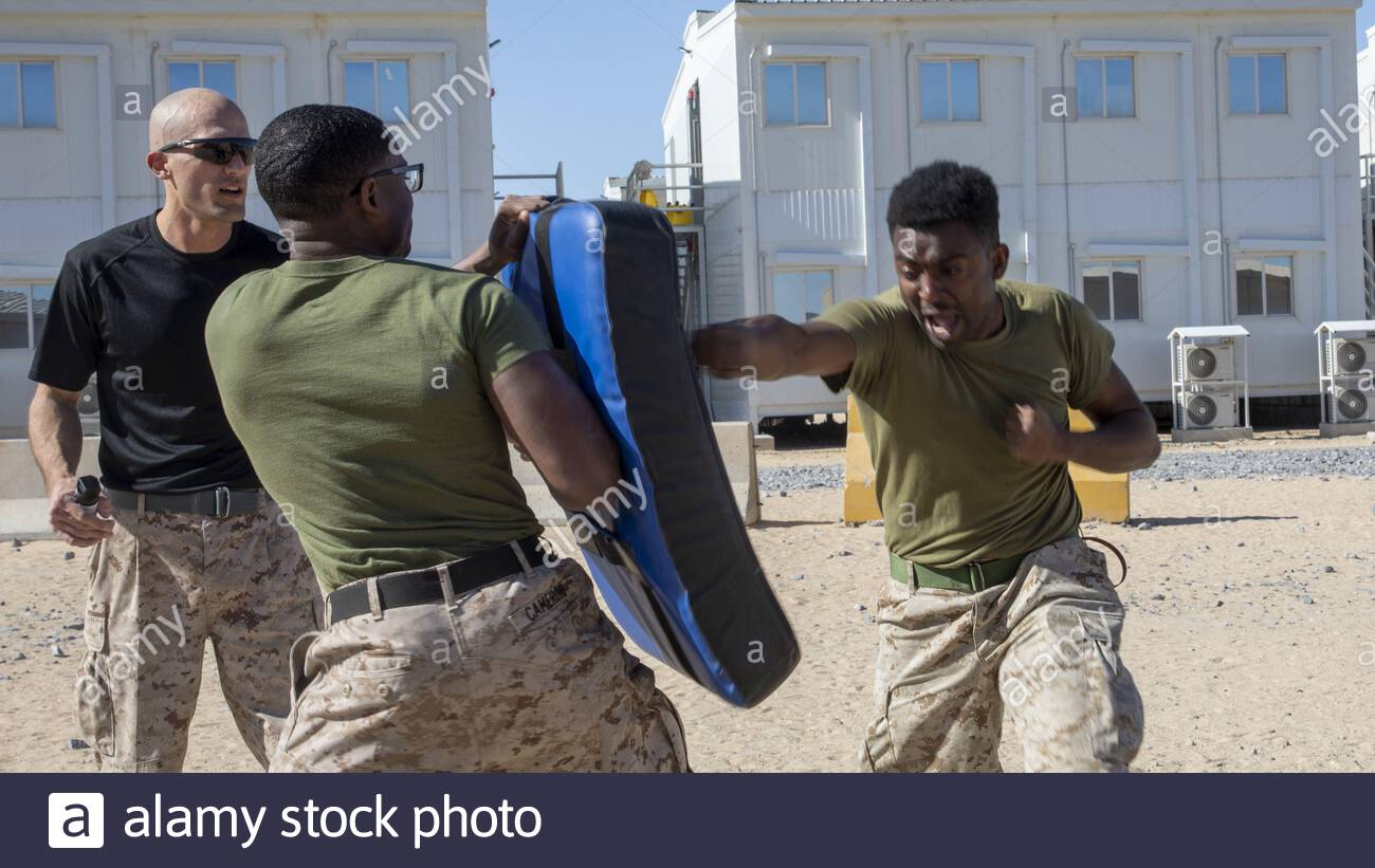 A U.S. Marine assigned to Special Purpose Marine Air-Ground Task Force – Crisis Response - Central Command (SPMAGTF-CR-CC) 19.2, punches a bag during an oleoresin capsicum spray as part of a non-lethal weapons training exercise in Kuwait, Jan. 27 2020. The SPMAGTF-CR-CC is a multiple force provider designed to employ ground, logistics and air capabilities throughout the Central Command area of responsibility.  Where: Kuwait When: 27 Jan 2020 Credit: U.S. Marine Corps/Cover Images  **Editorial use only** Stock Photo