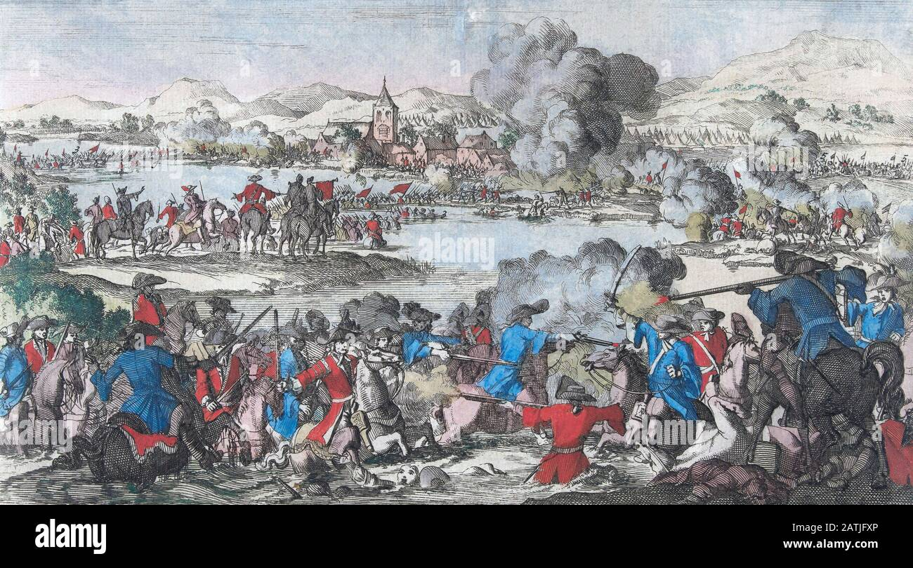 BATTLE OF THE BOYNE PAINTING BRITISH WILLIAMITE WAR IRELAND ART CANVASPRINT