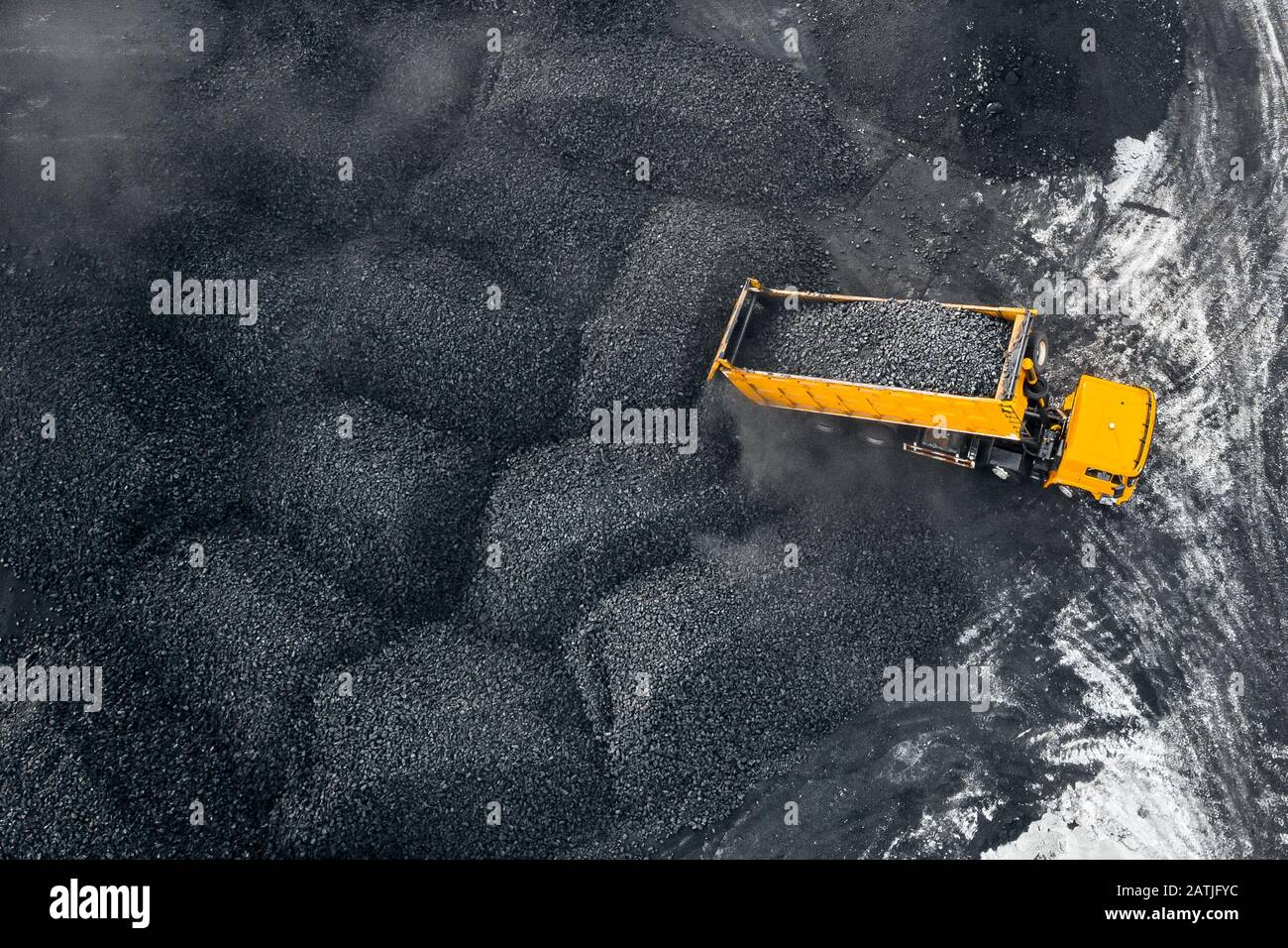 Open pit mine, extractive industry for coal, top view aerial drone Stock Photo