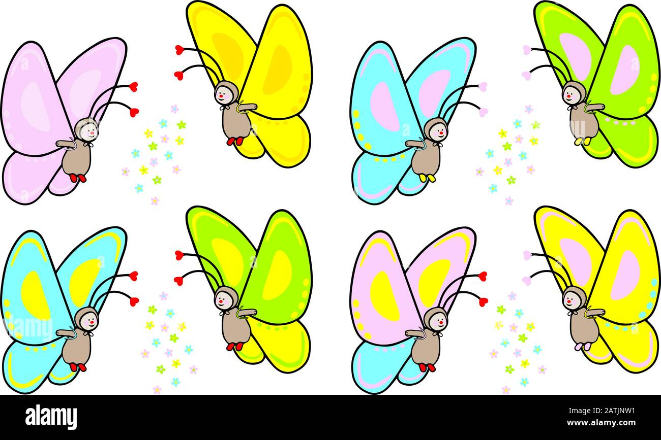 funny hand drawn vector illustration of  cute butterfly in various colors and flower decoration Stock Vector