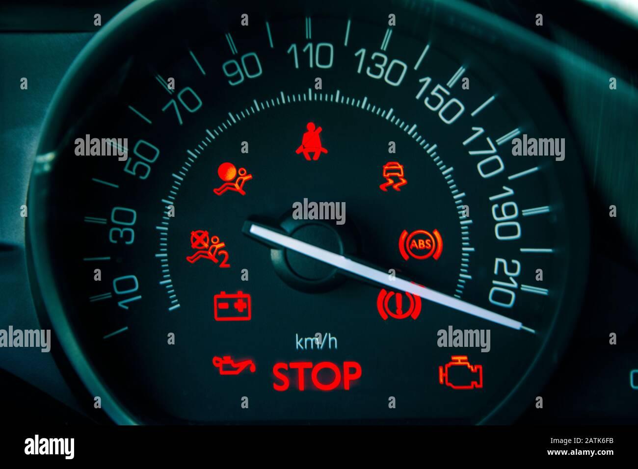 Speedometer maximum speed Stock Photo