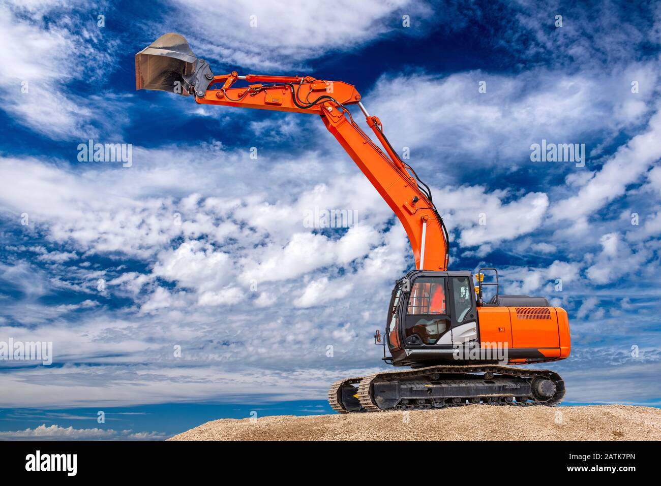 excavator at work in construction site Stock Photo