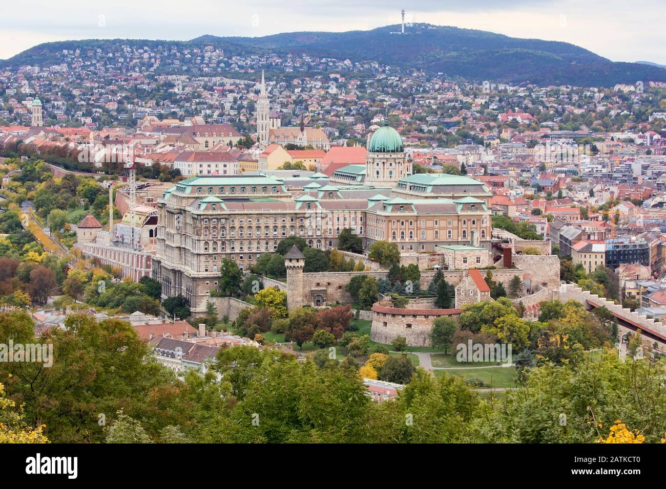 View of Buda Castle Royal Palace on the southern tip of Castle Hill int the Buda side of Budapest, Hungary. A UNESCO World Heritage Site. Stock Photo