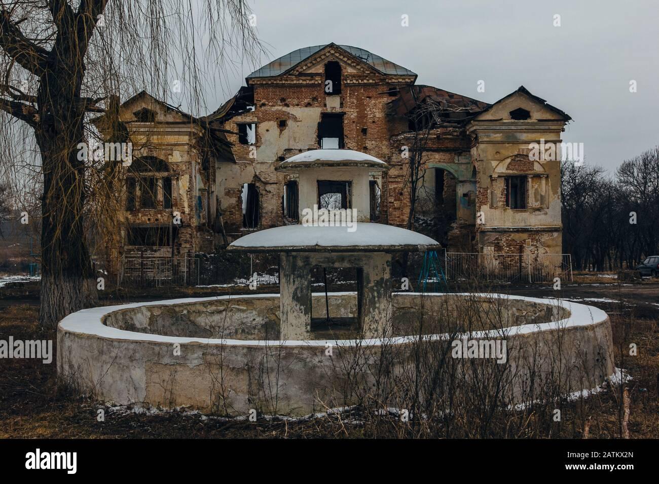 Dark And Creepy Old Abandoned Mansion Gorozhanka Former Venevitinov Manor Voronezh Region Stock Photo Alamy