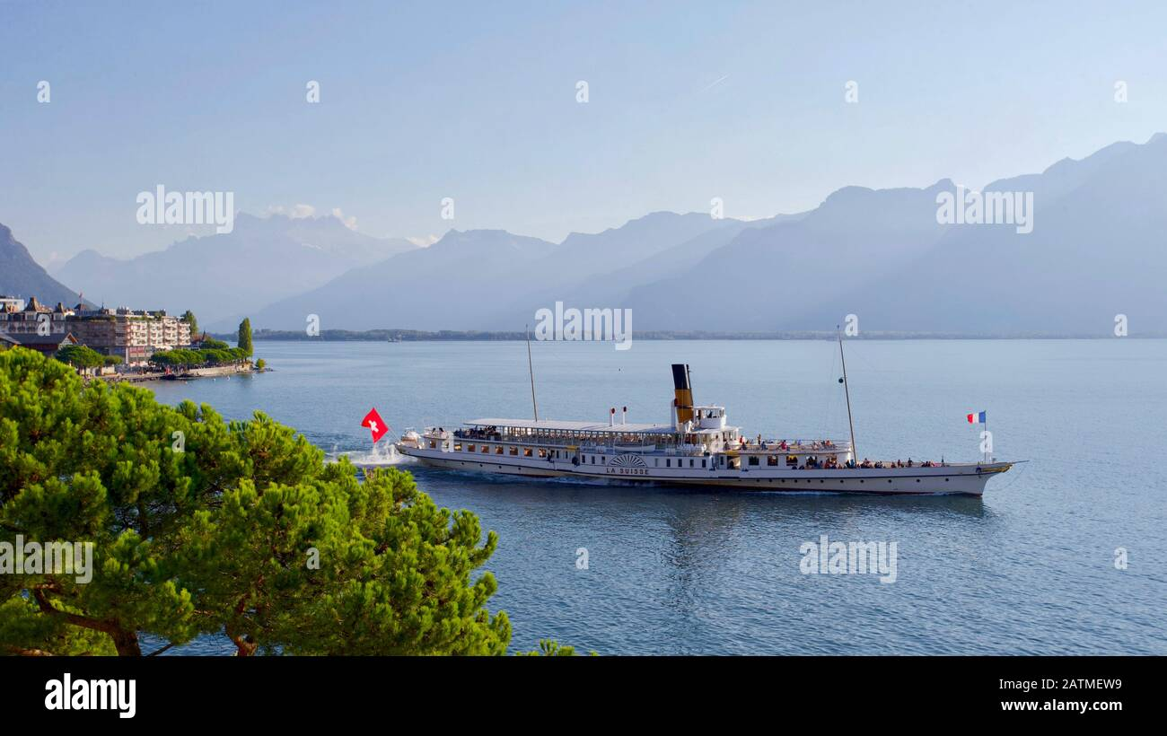 "Steamer ""La Suisse"", Lake Geneva, Montreux, Canton Vaud, Switzerland. Stock Photo"
