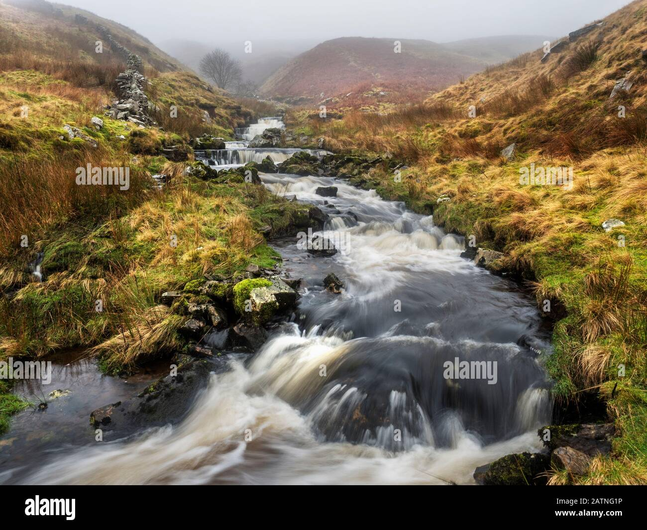 Waterfalls in Force Gill near Ribblehead Yorkshire Dales National Park England Stock Photo