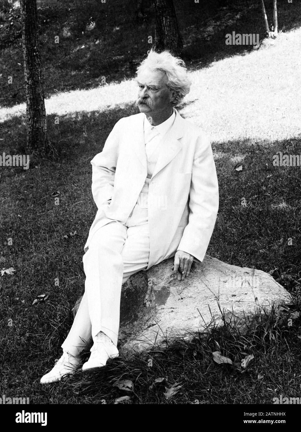 Vintage portrait photo of American writer and humourist Samuel Langhorne Clemens (1835 – 1910), better known by his pen name of Mark Twain. Photo circa 1907 by Underwood & Underwood. Stock Photo