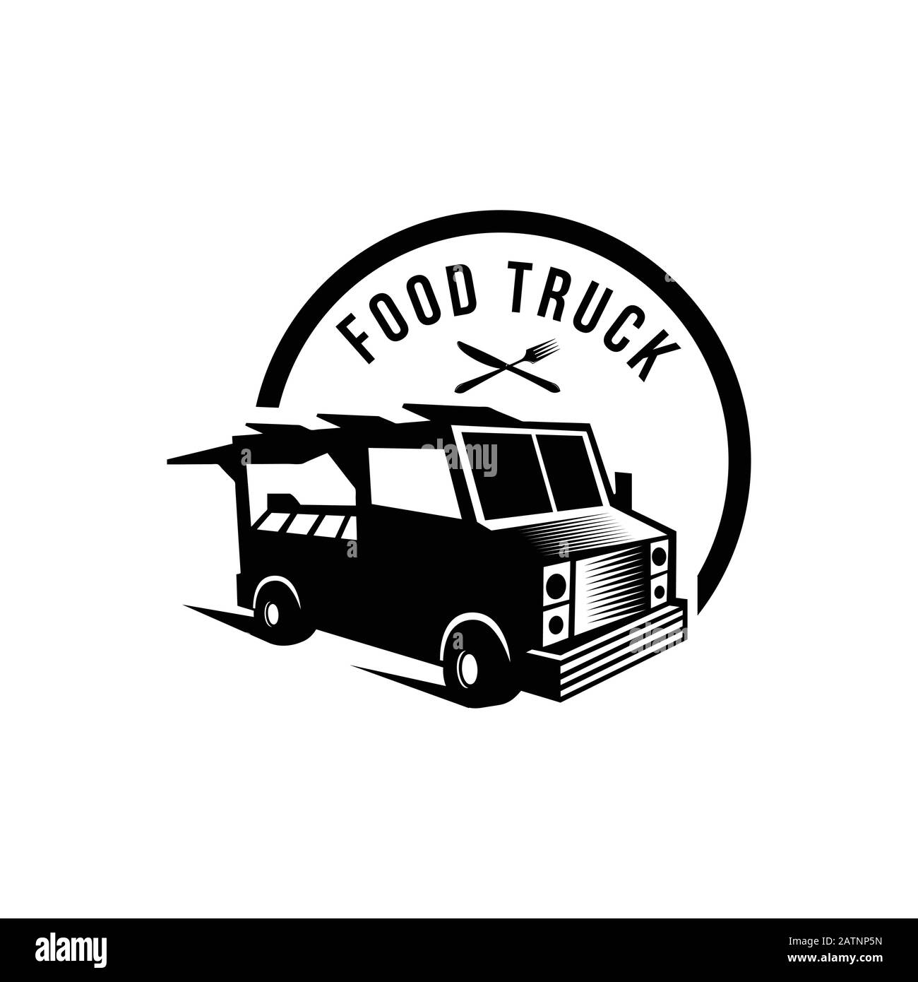 Foodstuffs white background Vintage kitchen print element with fork and knife, text and truck on grunge spot Stock Vector