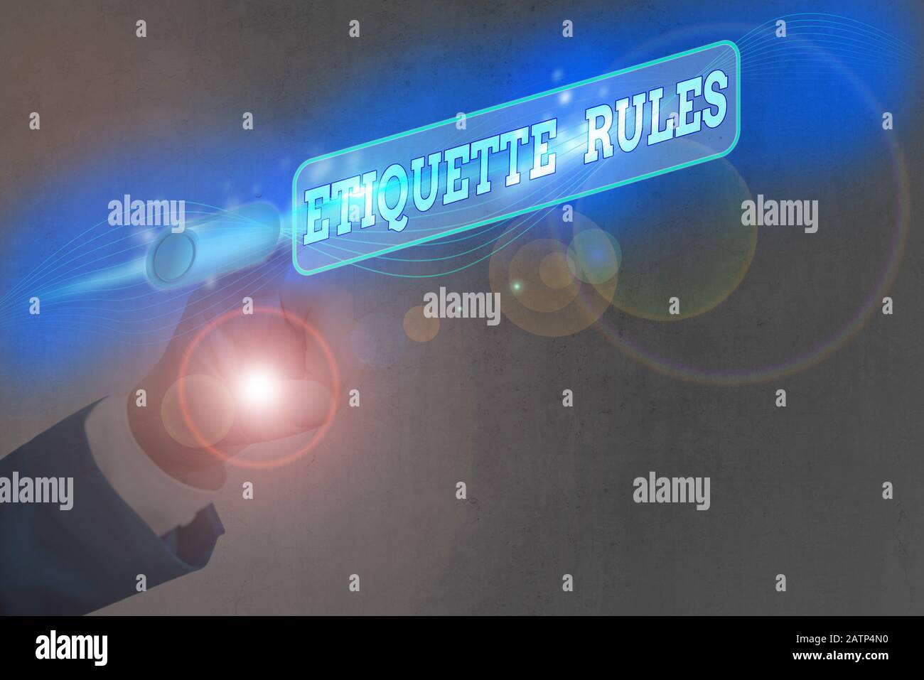 Text sign showing Etiquette Rules. Business photo text customs that control accepted behaviour in social groups Stock Photo