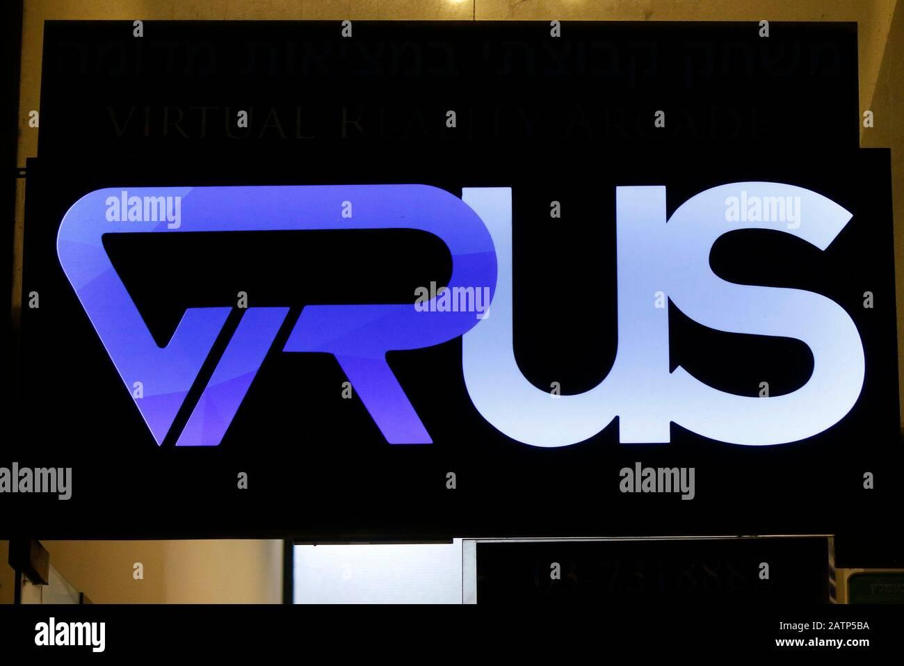 """das Logo der Marke/ the logo of the brand """"VRus"""", Tel Aviv, Israel (nur fuer redaktionelle Verwendung. Keine Werbung. Referenzdatenbank: http://www.36 Stock Photo"""