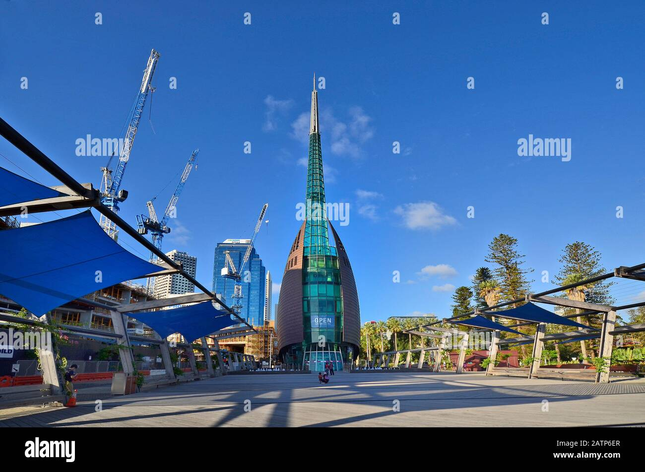 Perth, WA, Australia - November 27, 2017: The Bell Tower, landmark in the capital of Western Australia and construction activity for hotels nearby Stock Photo