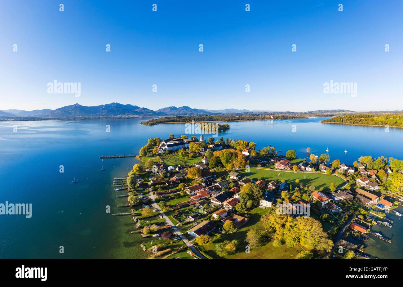 Fraueninsel, Frauenchiemsee, behind Krautinsel and Herreninsel, Chiemsee, Alps, Chiemgau, aerial view, Alpine foreland, Upper Bavaria, Bavaria Stock Photo
