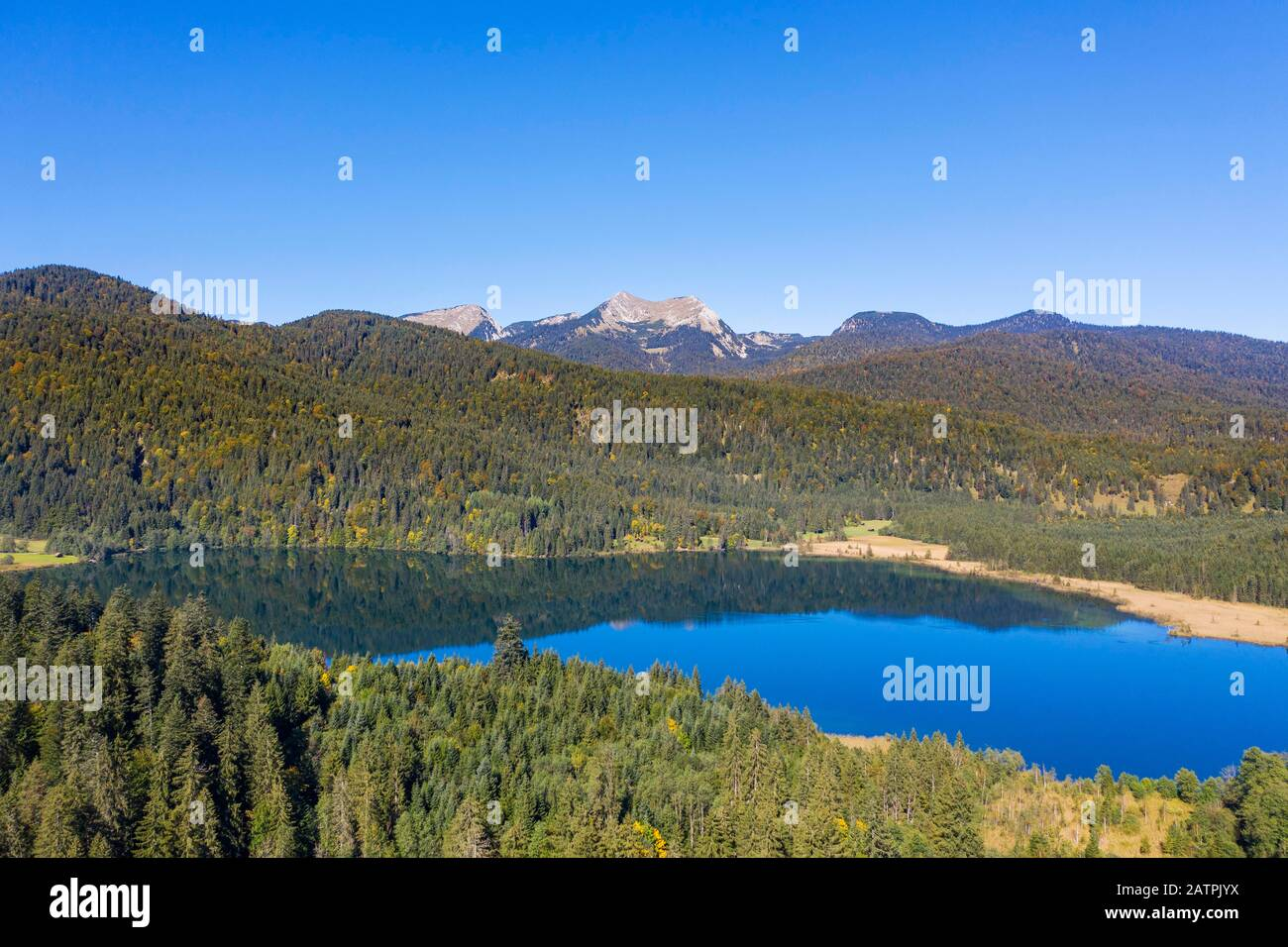 Lake Barmsee near Kruen, Berg Bischof and Krottenkopf in the Estergebirge, Werdenfelser Land, drone shot, Upper Bavaria, Bavaria, Germany Stock Photo