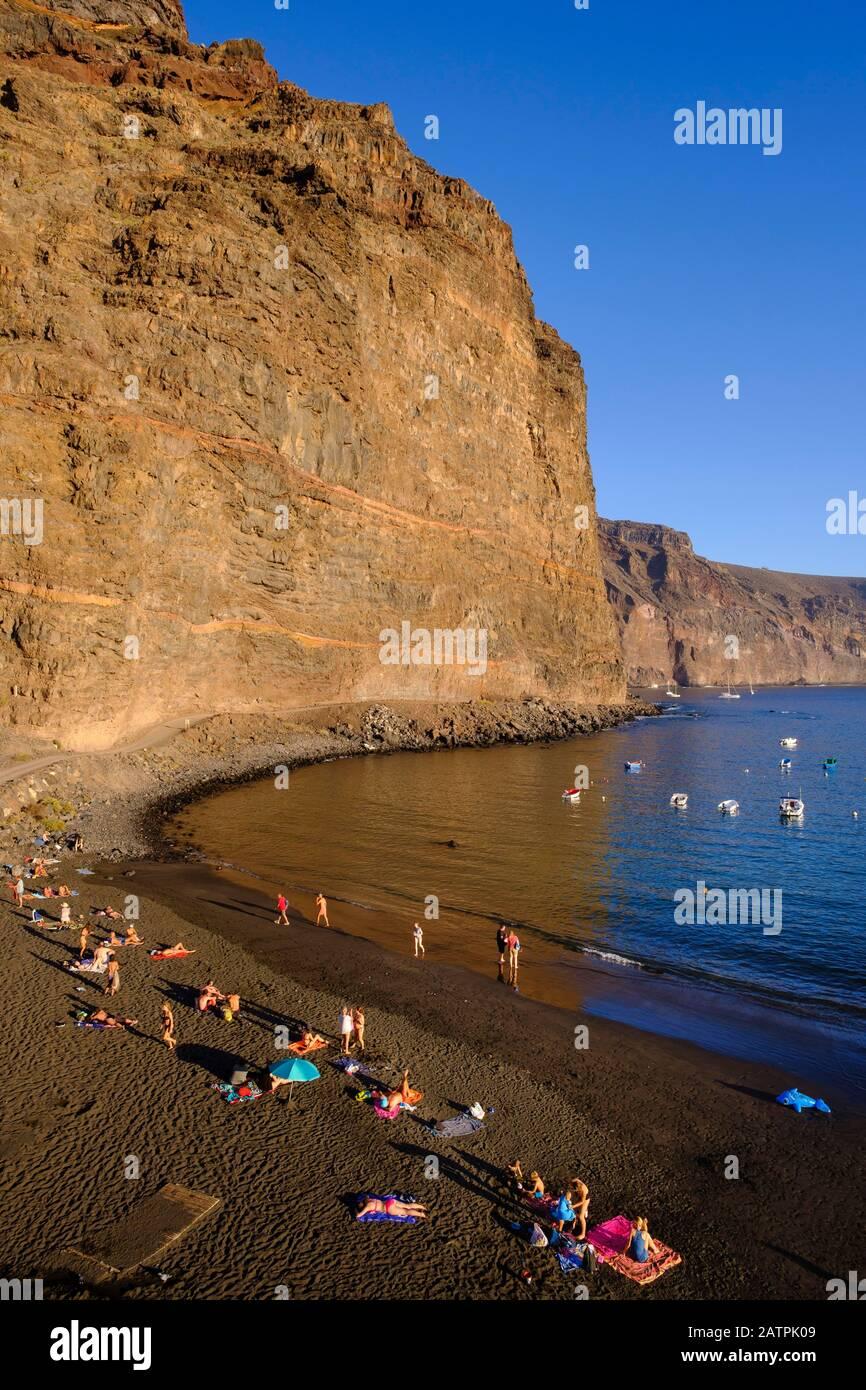 Beach Playa de Vueltas, Vueltas, Valle Gran Rey, La Gomera, Canary Islands, Spain Stock Photo