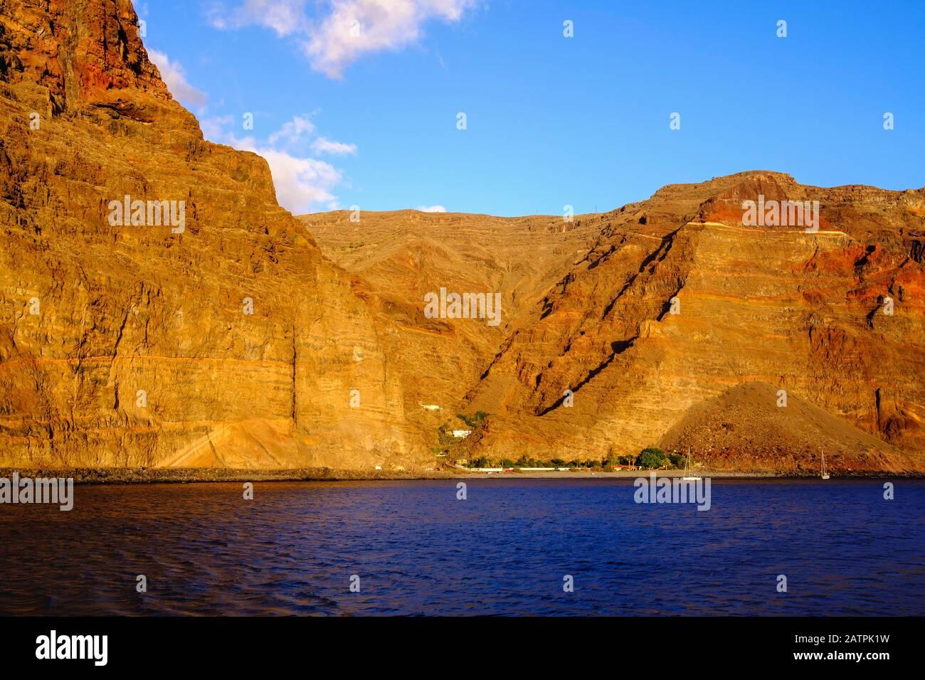 Playa de Argaga and Argaga Gorge near Vueltas, Valle Gran Rey, La Gomera, Canary Islands, Spain Stock Photo